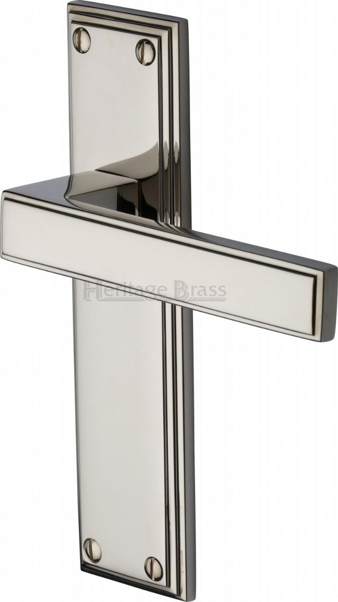 M Marcus Heritage Brass ATL5710PNF Atlantis Door Handle on Latch Backplate Polished Nickel